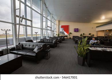 Boryspil, Ukraine - OCTOBER 27, 2016: Airport VIP lounge. Airport business class lounge. Airport interior. Airport waiting hall. Leather furniture.