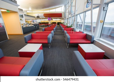 Boryspil, Ukraine - OCTOBER 27, 2016: Airport VIP lounge. Airport business class lounge. Airport waiting hall. Airport interior.