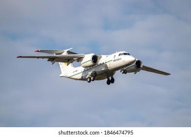 Boryspil, Ukraine - September 25, 2020: Ukraine Government Antonov An-74TK-300D is landing in the airport