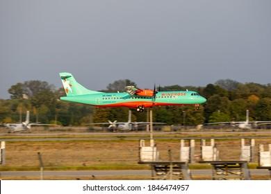 Boryspil, Ukraine - September 25, 2020: WindRose ATR-72-600 is landing in the airport