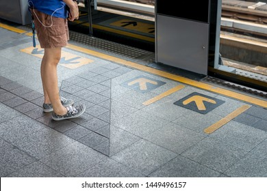 The bos waiting for public trransportation in metro and city lifestyle
