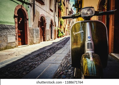 Bosa, Sardegna / Italy - 07.29 2018 : Typical Colorful Italian Houses