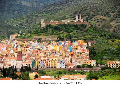 Bosa town with colorful houses and Serravalle's Castle, Oristano province, Sardinia, Italy