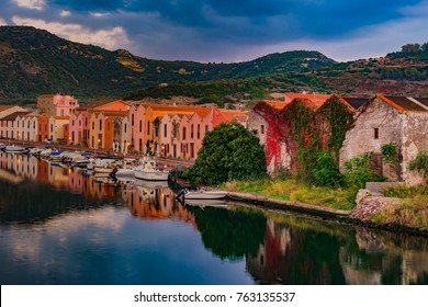 Bosa, town and comune in the province of Oristano, Sardinia region, Italy. Beautiful and colorful photo of old architecture.