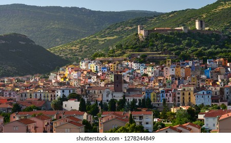 Bosa Town, small town on Sardinia Island. The town on the hillside with coloured houses