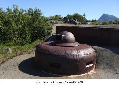 BOSANDEN, NORDLAND COUNTY / NORWAY - JUNE 20 2020: Abandoned Nazi coastal battery. German coastal fortress on the Engeløya (Engeloya) island