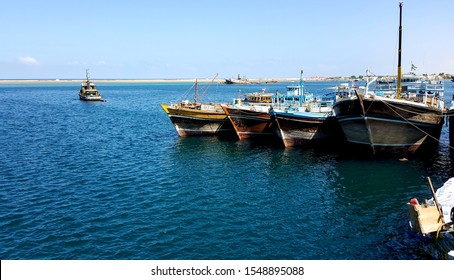 Bosaso port Somalia and wooden ships mored in it