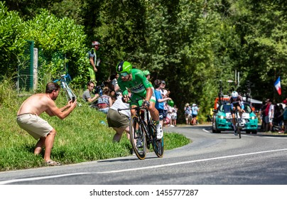 Bosdarros, France - July 19, 2019: The Slovak cyclist Peter Sagan of Team Bora-Hansgrohe in Green Jersey riding during stage 13, individual time trial, of Le Tour de France 2019.