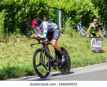 Bosdarros, France - July 19, 2019: The Colombian cyclist Egan Bernal of Team Ineos, in The White Jersey, riding during stage 13, individual time trial, of Le Tour de France 2019.