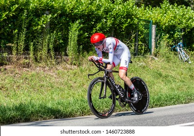 Bosdarros, France - July 19, 2019: The Irish cyclist Dan Martin of Team UAE Emirates riding during stage 13, individual time trial, of Le Tour de France 2019.