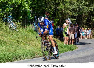 Bosdarros, France - July 19, 2019: The Spanish cyclist Enric Mas of Team Deceuninck-Quick Step riding during stage 13, individual time trial, of Le Tour de France 2019.