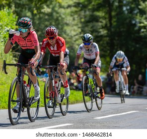 Bosdarros, France - July 19, 2019: The Belgian female cyclist Sofie De Vuyst of  Parkhotel Valkenburg Team in the peloton, is riding in Bosdarros during La Course by Le Tour de France 2019