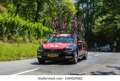 Bosdarros, France - July 19, 2019: The car of feminine Team Sunweb drives in Bosdarros during La Course by Le Tour de France 2019