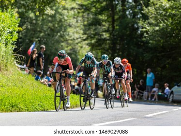 Bosdarros, France - July 19, 2019: The Dutch female cyclist Demi Vollering of  Parkhotel Valkenburg Team in the peloton, is riding in Bosdarros during La Course by Le Tour de France 2019