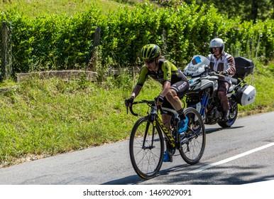 Bosdarros, France - July 19, 2019: The Australian female cyclist Amanda Spratt of  Mitchelton-Scott Team rides in Bosdarros during La Course by Le Tour de France 2019