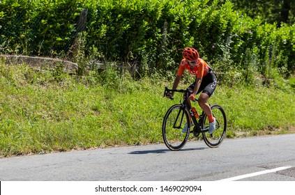 Bosdarros, France - July 19, 2019: The Dutch female cyclist Pauliena Rooijakkers of  CCC-Liv Team rides in Bosdarros during La Course by Le Tour de France 2019