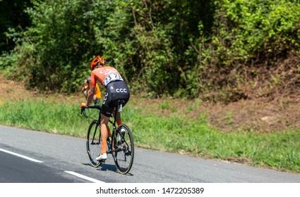 Bosdarros, France - July 19, 2019: The Dutch female cyclist Jeanne Korevaar of  CCC-Liv Team rides in Bosdarros during La Course by Le Tour de France 2019