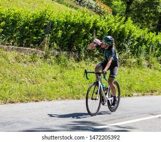 Bosdarros, France - July 19, 2019: The British female cyclist Elizabeth Banks of  Bigla Pro Cycling Team rides in Bosdarros during La Course by Le Tour de France 2019