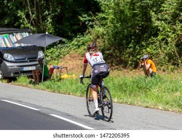 Bosdarros, France - July 19, 2019: The Canadian female cyclist Karol-Ann Canuel of  Boels Dolmans Cycling Team rides in Bosdarros during La Course by Le Tour de France 2019