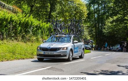 Bosdarros, France - July 19, 2019: The car of feminine Team Tibco-Silicon Valley Bank drives in Bosdarros during La Course by Le Tour de France 2019