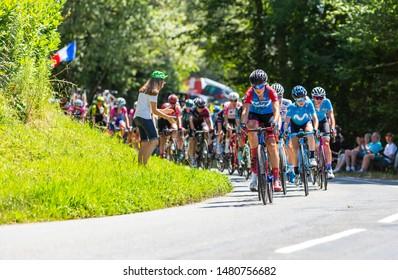 Bosdarros, France - July 19, 2019: The feminine peloton riding in Bosdarros during La Course by Le Tour de France 2019