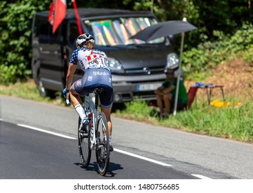 Bosdarros, France - July 19, 2019: The American female cyclist Ruth Winder of  Trek-Segafredo Team rides in Bosdarros during La Course by Le Tour de France 2019