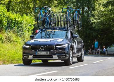 Bosdarros, France - July 19, 2019: The car of feminine Team Movistar drives in Bosdarros during La Course by Le Tour de France 2019