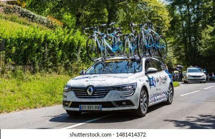 Bosdarros, France - July 19, 2019: The car of feminine Team FDJ-Nouvelle Aquitaine-Futuroscope drives in Bosdarros during La Course by Le Tour de France 2019