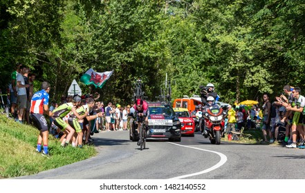 Bosdarros, France - July 19, 2019: The Welsh cyclist Geraint Thomas of Team Ineos riding during stage 13, individual time trial, of Le Tour de France 2019.