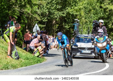 Bosdarros, France - July 19, 2019: The Colombian cyclist Nairo Quintana of Team Movistar riding during stage 13, individual time trial, of Le Tour de France 2019.
