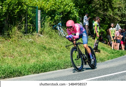 Bosdarros, France - July 19, 2019: The Colombian cyclist Rigoberto Uran of Team EF Education First riding during stage 13, individual time trial, of Le Tour de France 2019.