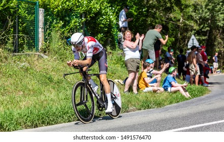 Bosdarros, France - July 19, 2019: The Dutch cyclist Bauke Mollema of Team Trek-Segafredo riding during stage 13, individual time trial, of Le Tour de France 2019.