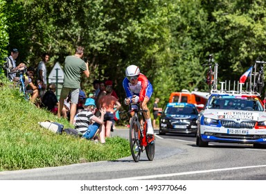 Bosdarros, France - July 19, 2019: The Swiss cyclist Sebastien Reichenbach of Team Groupama FDJ riding during stage 13, individual time trial, of Le Tour de France 2019.
