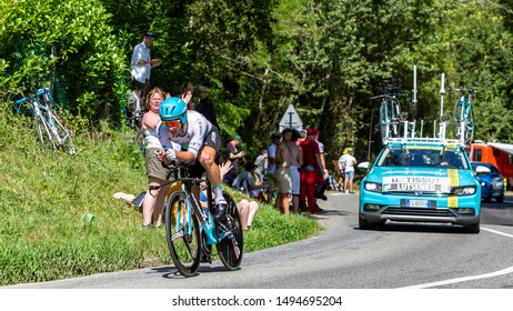 Bosdarros, France - July 19, 2019: The Kazakh cyclist Alexey Lutsenko of Team Astana riding during stage 13, individual time trial, of Le Tour de France 2019.