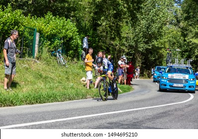 Bosdarros, France - July 19, 2019: The French cyclist Guillaume Martin of Team Wanty Group Gobert riding during stage 13, individual time trial, of Le Tour de France 2019.