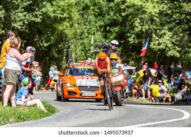Bosdarros, France - July 19, 2019: The Belgian cyclist Greg Van Avermaet of Team CCC riding during stage 13, individual time trial, of Le Tour de France 2019.
