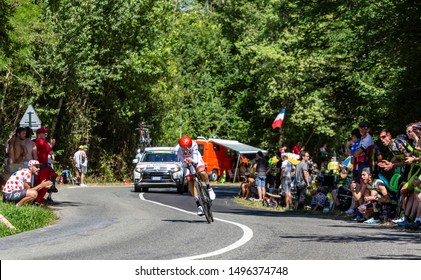 Bosdarros, France - July 19, 2019: The Italian cyclist Fabio Aru of Team UAE Emirates riding during stage 13, individual time trial, of Le Tour de France 2019.