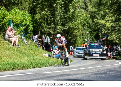 Bosdarros, France - July 19, 2019: The Belgian cyclist Jasper Stuyven of Team Trek-Segafredo riding during stage 13, individual time trial, of Le Tour de France 2019.