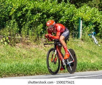 Bosdarros, France - July 19, 2019: The Australian cyclist Michael Matthews of Team Sunweb riding during stage 13, individual time trial, of Le Tour de France 2019.