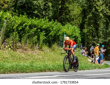 Bosdarros, France - July 19, 2019: The Belgian cyclist Dylan Teuns of Team Bahrain-Merida riding during stage 13, individual time trial, of Le Tour de France 2019.
