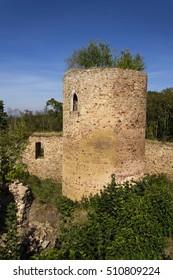 Bosky ruins of abandoned Valdek in Czech Republic summer day
