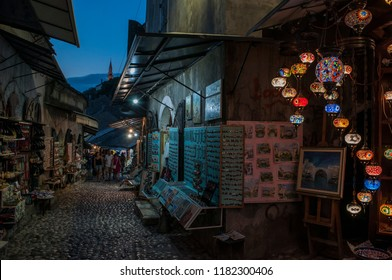 Bosnia Herzegovina, Europe, 5/07/2018: the night skyline of the Old Bazaar Kujundziluk, the muslim quarter of the old town of Mostar with its local craft products shops
