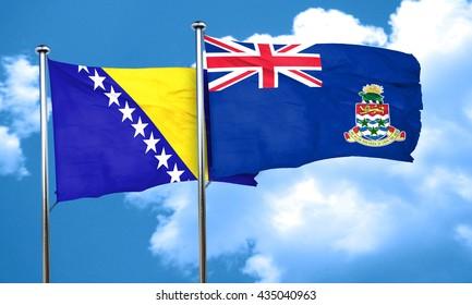 Bosnia and Herzegovina flag with Cayman islands flag, 3D renderi