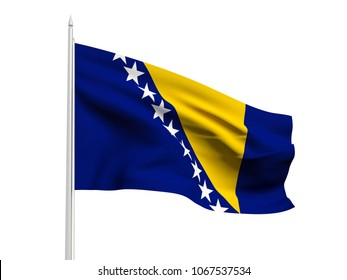 Bosnia and Herzegovina flag floating in the wind with a White sky background. 3D illustration.