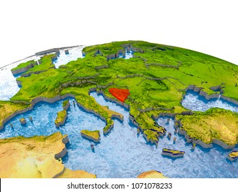 Bosnia and Herzegovina highlighted in red on globe with realistic land surface, visible country borders and water in place of oceans. 3D illustration. Elements of this image furnished by NASA.