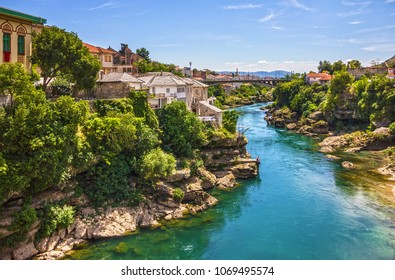 Bosnia and Herzegovina. Mostar river view on old town