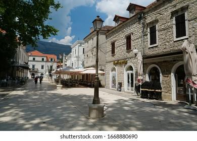 BOSNIA AND HERZEGOVINA, REPUBLIKA SRPSKA, TREBINJE, JULE 5, 2019: People on the street in Trebinje city, Republika Srpska, Bosnia and Herzegovina