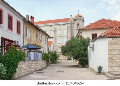 Bosnia and Herzegovina, street in Old Town of Trebinje, view of museum of Herzegovina