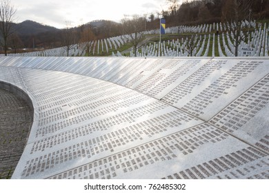 Bosnia and Herzegovina,Srebrenica  november2017, Memorial of Srebrenica massacre in Bosna Herzegovina with gravestones in the background