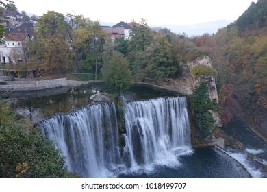 Bosnia. Jijce. Panoramic view with waterfall.